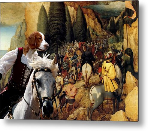 Welsh Springer Spaniel Metal Print featuring the painting Welsh Springer Spaniel Art Canvas Print by Sandra Sij
