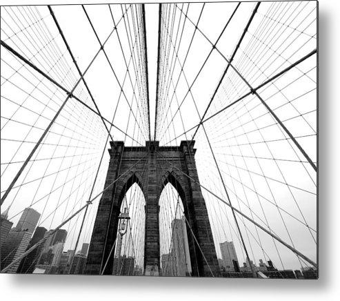 Ny Metal Print featuring the photograph Nyc Brooklyn Bridge by Nina Papiorek