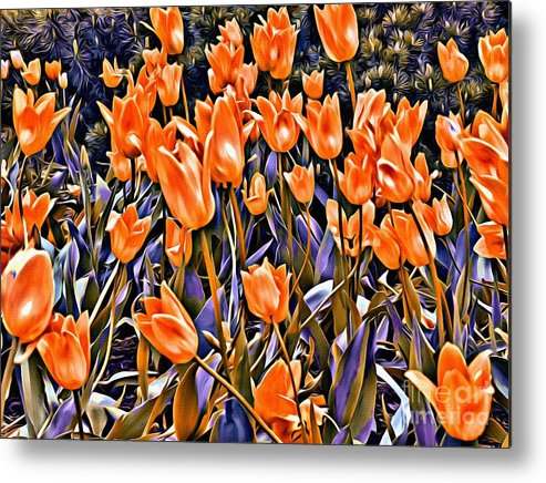 Tulips Metal Print featuring the photograph 9344 by Charles Cunningham