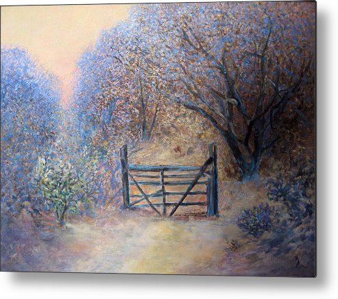 Landscape Metal Print featuring the painting A Gate by Natalya Shvetsky