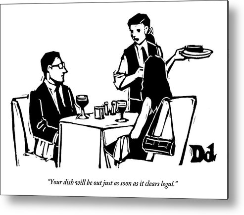 A Man And Woman Are Dining At A Restaurant Metal Print By Drew Dernavich