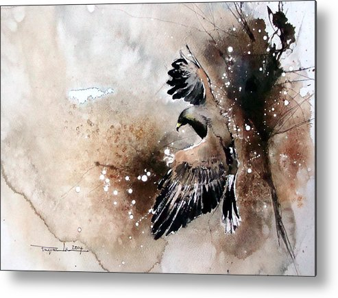 Birds Metal Print featuring the painting Aqvila Non Capit Muscas by Mugur Popa
