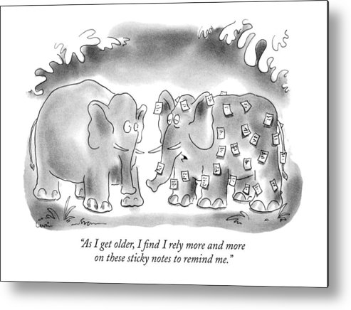 Animals Metal Print featuring the drawing As I Get Older by Arnie Levin