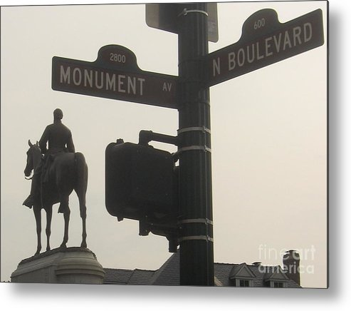 Virginia Metal Print featuring the photograph at Monument and Boulevard by Nancy Dole McGuigan