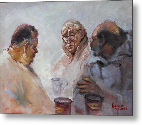 At Tim Hortons Metal Print featuring the painting At Tim Hortons by Ylli Haruni