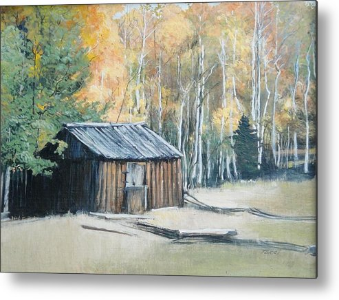 Forest Metal Print featuring the painting Autumn Descends On The Old Logger's Cabin by Terri Ana Stokes