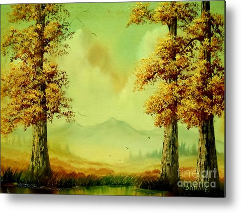 Autumn Metal Print featuring the painting Autumn Scene by Amede Doualle