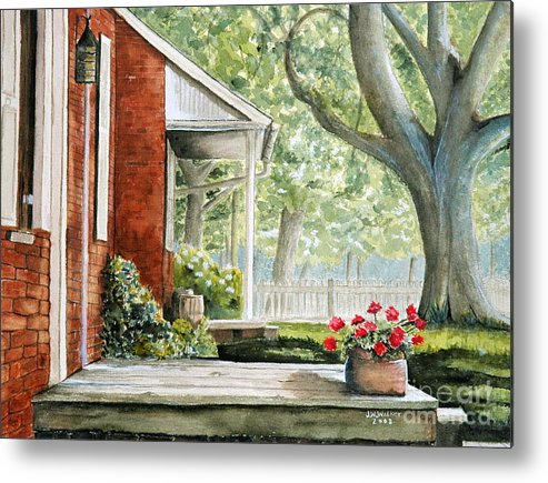 Landscape Metal Print featuring the painting Back Porch Geraniums by John W Walker