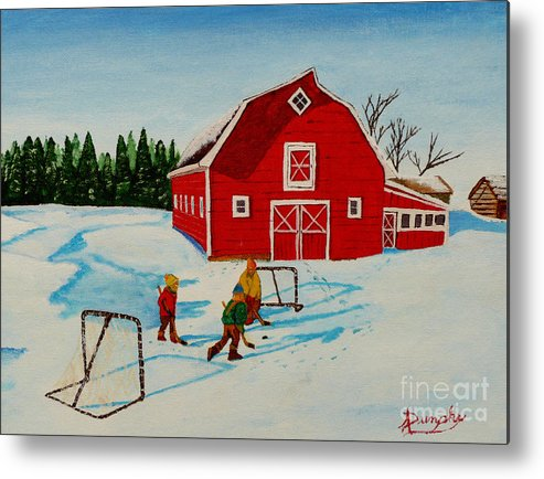 Hockey Metal Print featuring the painting Barn Yard Hockey by Anthony Dunphy