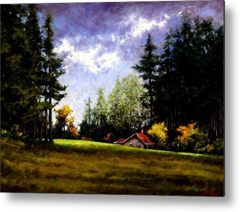 Landscape Metal Print featuring the painting Battle Ground Park by Jim Gola