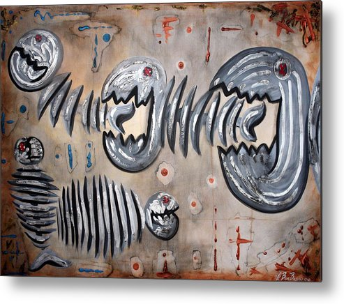Fish Metal Print featuring the painting Big Fish Little Fish by Laura Barbosa