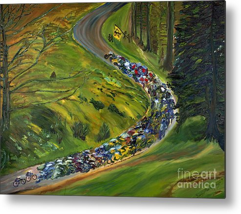 Lance Armstrong Metal Print featuring the painting Bike Race Belgium Arden Spring Classics by Gregory Allen Page