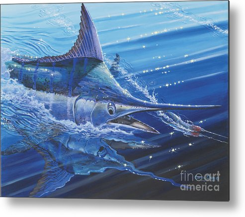 Blue Marlin Metal Print featuring the painting Blue Marlin Strike Off0053 by Carey Chen