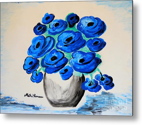 Poppies Metal Print featuring the painting Blue Poppies by Ramona Matei