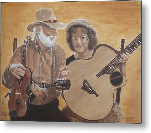 Portraits Metal Print featuring the painting Bluegrass Music by Kathie Camara