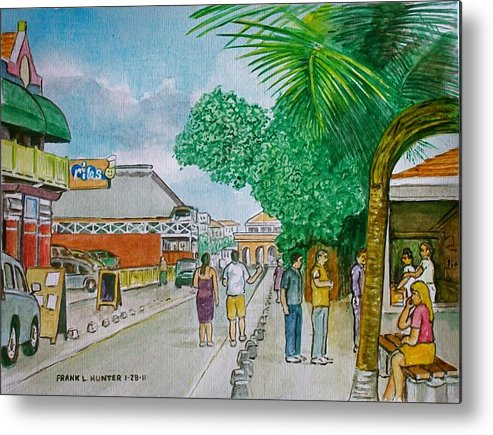Bonaire Street Tourists Metal Print featuring the painting Bonaire Street by Frank Hunter