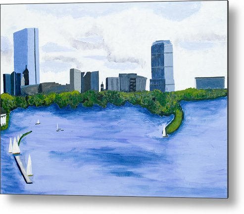 Landscape Metal Print featuring the painting Boston Skyline by Carmela Cattuti