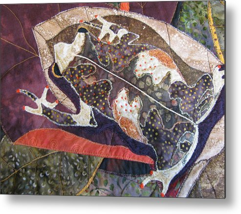 Tapestries Textiles Metal Print featuring the tapestry - textile Brown Forest Toad by Lynda K Boardman