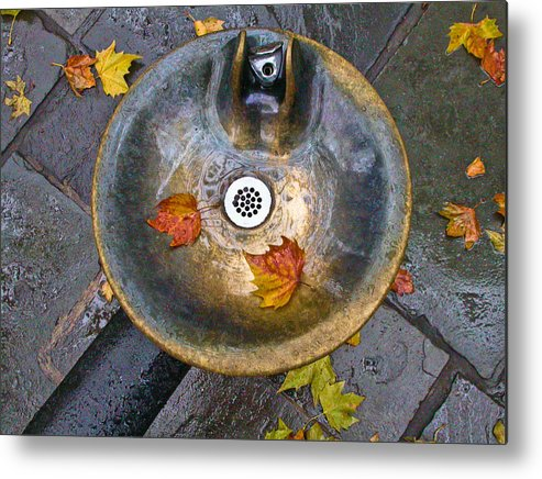 New York City Metal Print featuring the photograph Bryant Park Fountain In Autumn by Gary Slawsky