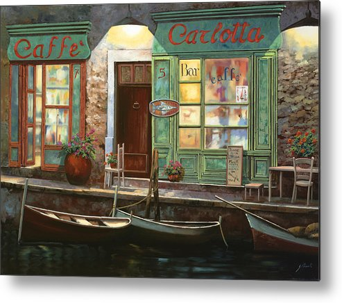 Venice Metal Print featuring the painting caffe Carlotta by Guido Borelli