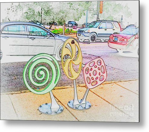 Metal Print featuring the photograph Candy Bike Rack In Colored Pencil by Kelly Awad