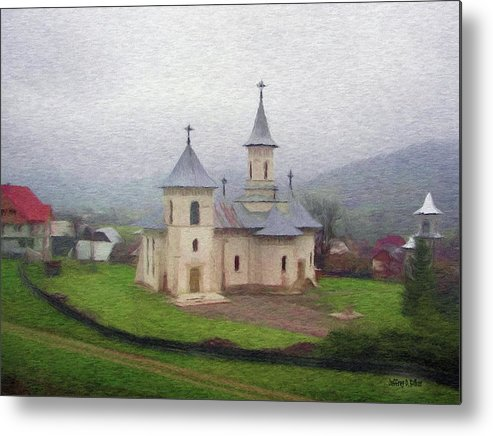 Chapel Metal Print featuring the painting Church In The Mist by Jeffrey Kolker