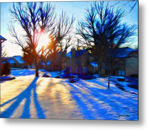 Cold Metal Print featuring the painting Cold Morning Sun by Jeff Kolker