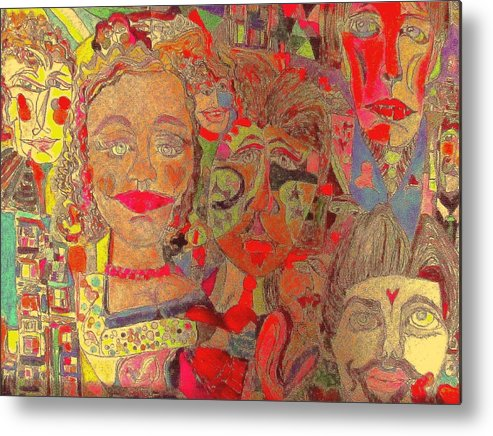 Abstract Metal Print featuring the drawing Coming Out Party by Martha Nelson