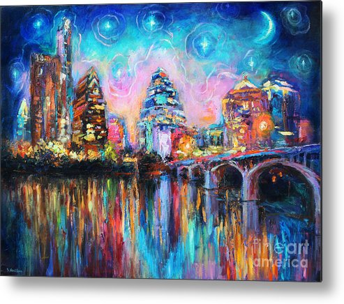 Downtown Austin Art Metal Print featuring the painting Contemporary Downtown Austin Art Painting Night Skyline Cityscape Painting Texas by Svetlana Novikova