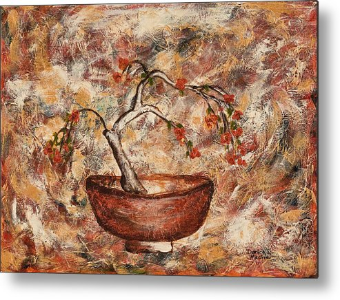 Copper Bowl Metal Print featuring the painting Copper Bowl by Darice Machel McGuire