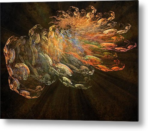 Cosmic Dust Metal Print featuring the painting Cosmic Dust And Light Beauty Fine Fractal Art by Georgeta Blanaru