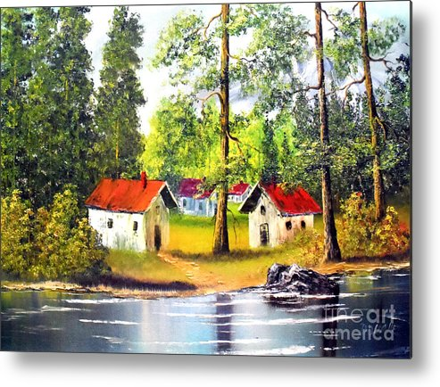 Cottage Metal Print featuring the painting Cottages By The Lake by Amede Doualle