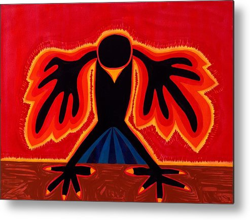 Painting Metal Print featuring the painting Crow Rising Original Painting by Sol Luckman