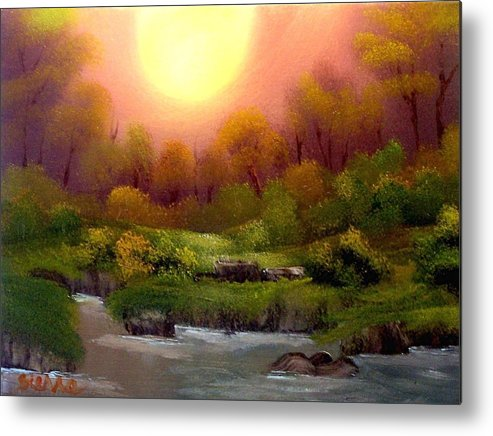 Landscape Metal Print featuring the painting Dusk On The Riverbank by Dina Sierra