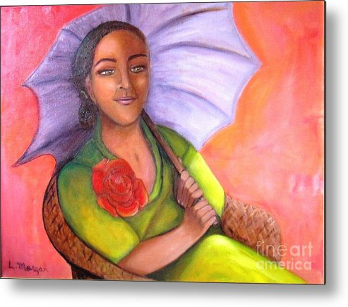 Rose Metal Print featuring the painting Enchanted Rose by Laurie Morgan