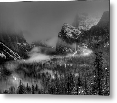 Black And White Metal Print featuring the photograph Enchanted Valley In Black And White by Bill Gallagher