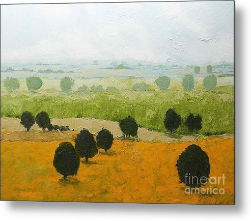 Landscape Metal Print featuring the painting Fog Lifting Fast by Allan P Friedlander