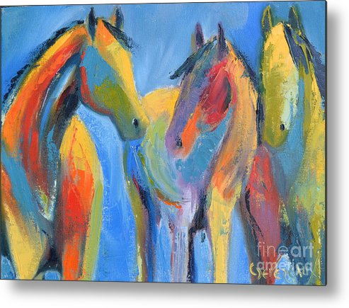Horse Metal Print featuring the painting Friends by Cher Devereaux