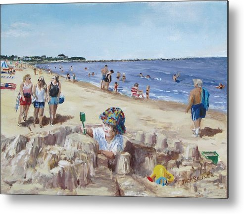 Beach Metal Print featuring the painting From Sandcastles To College by Jack Skinner