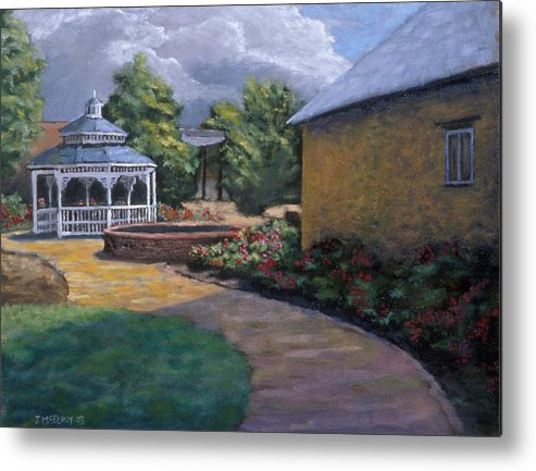 Potter Metal Print featuring the painting Gazebo In Potter Nebraska by Jerry McElroy