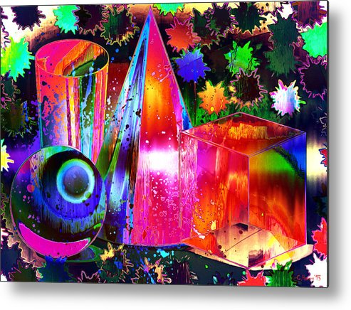 Geometric Metal Print featuring the mixed media Geometricity by Catherine Harms