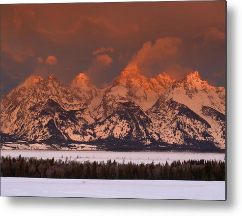 Sunrise Metal Print featuring the photograph Grand Teton Winter Sunrise by Stephen Vecchiotti