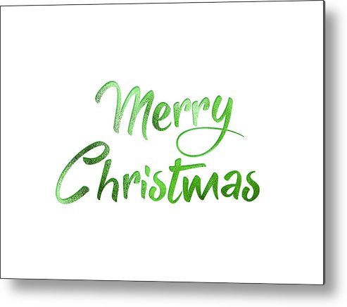 Merry Christmas Writing Images.Green Glitter Isolated Hand Writing Word Merry Christmas Metal Print