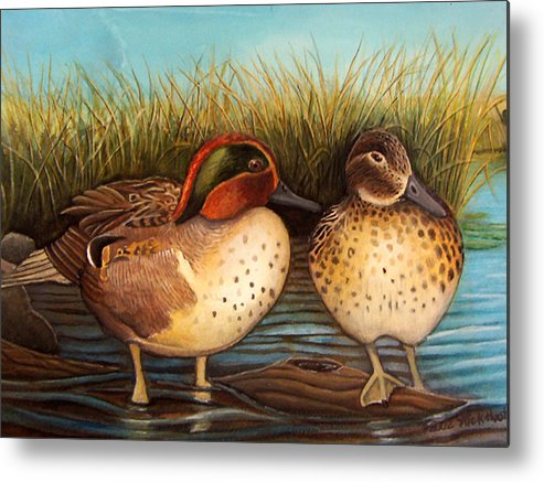 Rick Huotari Metal Print featuring the painting Green Winged Teal by Rick Huotari