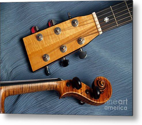 Guitar Metal Print featuring the photograph Guitar And Violin Heads On Blue by Anna Lisa Yoder
