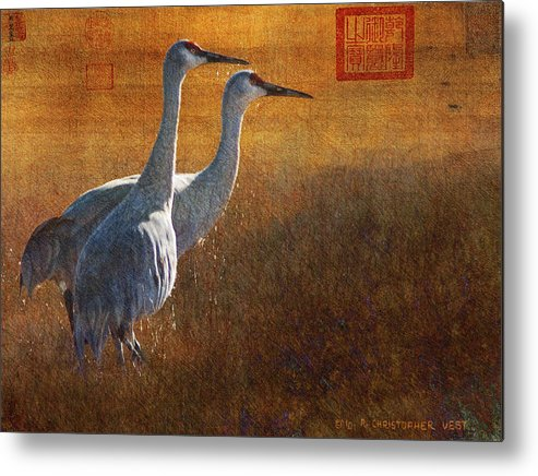 Hirosige Metal Print featuring the painting Hirosige Cranes Gold Leaf by R christopher Vest
