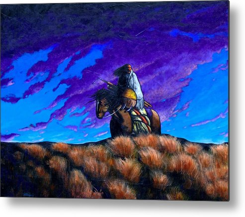 American Indian Metal Print featuring the painting In Search Of The Vanished by Joe Triano