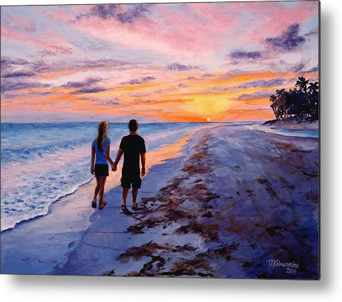 Beach Metal Print featuring the painting Into The Sunset by Mary Giacomini