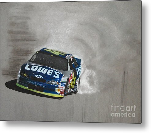 Car Metal Print featuring the drawing Jimmie Johnson-victory Burnout by Paul Kuras
