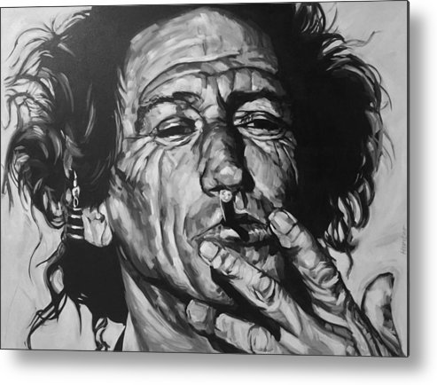Keith Richards Guitarist Musician Rolling Stones Mick Jagger Black And White Canvas Portrait 60's Metal Print featuring the drawing Keith Richards by Steve Hunter